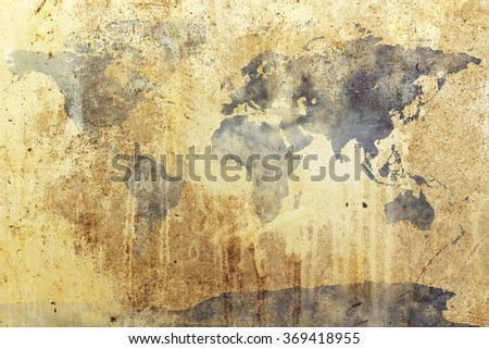 dirty grunge world map with blur cloud spread on blue sky background - stock photo