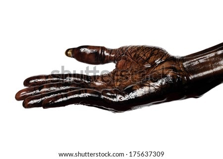 Dirty hand - palm up isolated on white background - stock photo
