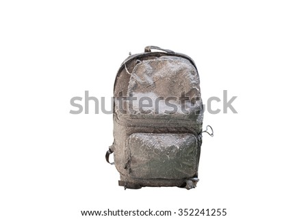 dirty hiking backpacks for travelers on  white background,with clipping path - stock photo