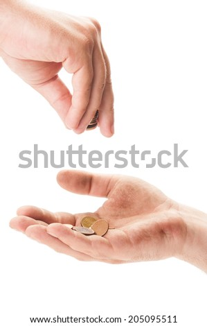 Dirty homeless beggar hand receiving coins.  Begging concept on white background - stock photo