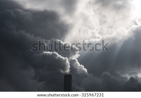 Dirty industrie smoke from smokestack - stock photo