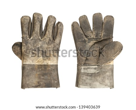 Dirty leather glove isolated on white background - stock photo