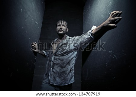 Dirty man - stock photo