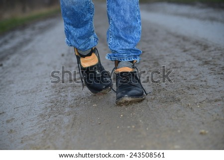 Dirty Men's shoes - stock photo