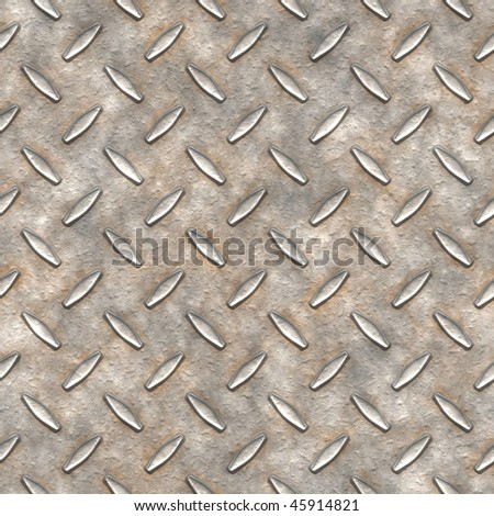 Dirty metal diamond plate texture for flooring is seamless pattern background and has high detail. - stock photo
