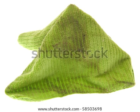 Dirty Microfiber Cleaning Cloth Isolated on White. - stock photo