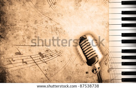 dirty music background with piano and sepia - stock photo
