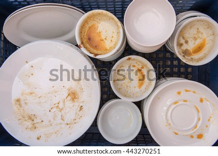 Dirty of dish and kitchenware waiting for wash. - stock photo