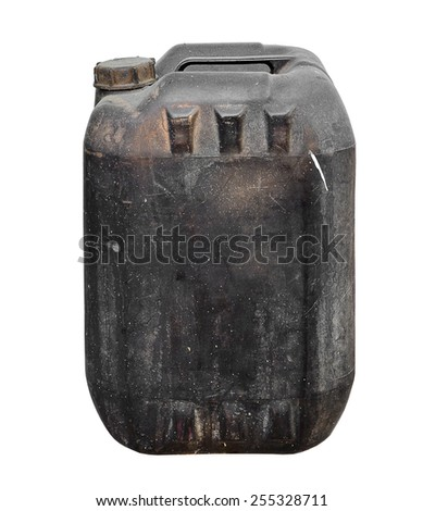 Dirty old black gallon on white background - stock photo