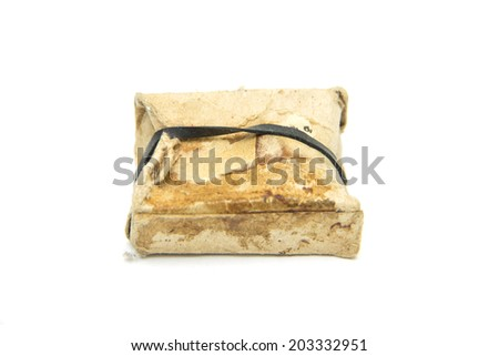 dirty old carton box isolated on white