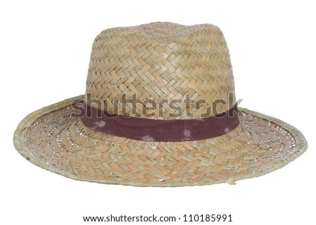 dirty old straw hat isolated on a white background - stock photo
