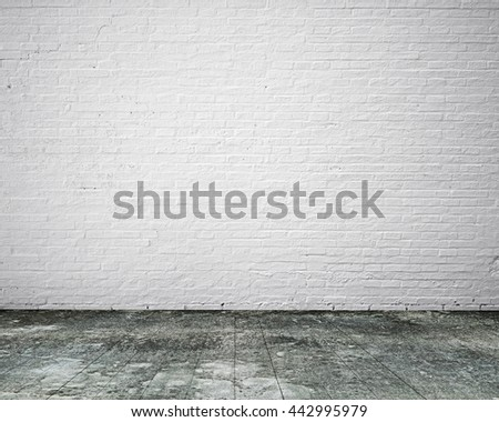 Dirty Old Wooden Floor With White Bricks Wall, Background No Body