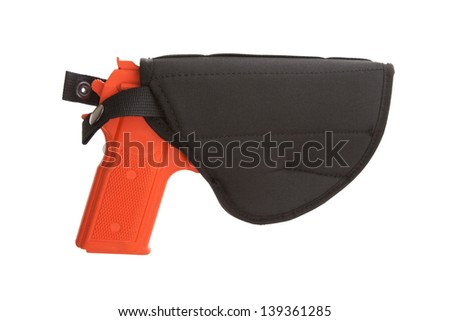Dirty red training gun isolated on white, law enforcement - stock photo
