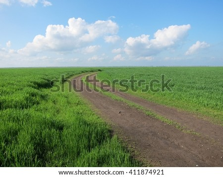 Dirty road goes to horizon under cloudy blue sky in green fields