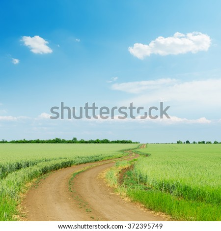 dirty road in green agriculture field and blue sky with clouds over it - stock photo