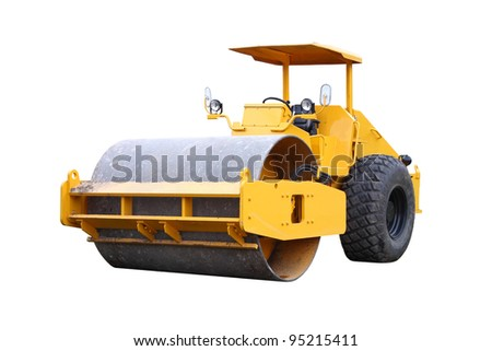 Dirty road roller on white background. - stock photo
