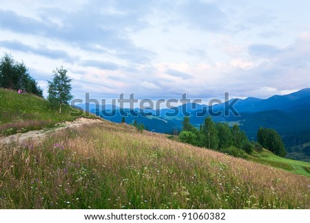 Dirty road through the evening flowering grassland in mountain and family on hill