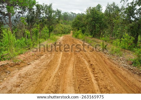 Dirty road with mud over field - stock photo