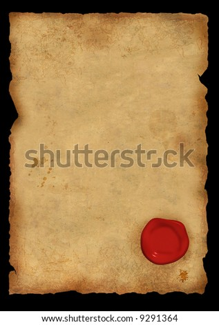 Dirty sheet of parchment with a sealing wax seal