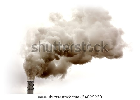 Dirty smoke isolated on the sky, ecology problems - stock photo