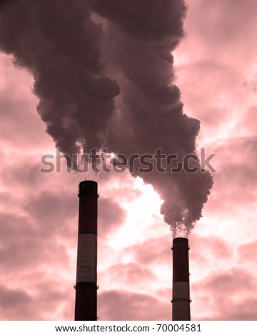 Dirty smoke on a background sky, ecological problems. - stock photo