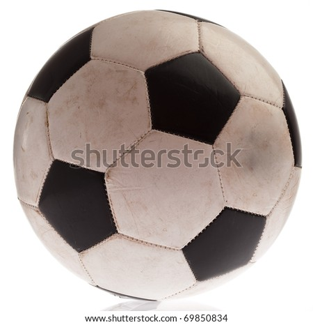 dirty soccer ball isolated on a white background - stock photo