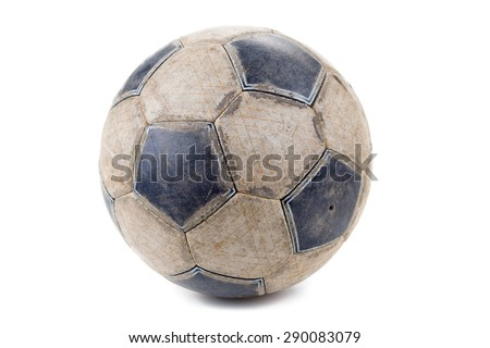 Dirty Soccer ball isolated on white background - stock photo