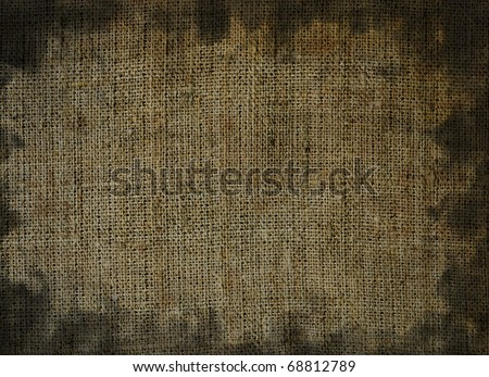 Dirty stained linen striped textured sacking burlap grunge background