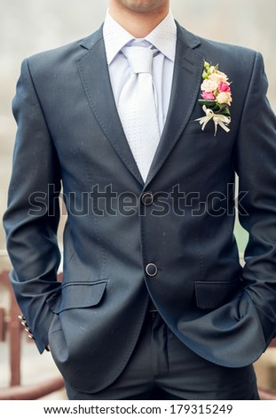 dirty suit the groom - stock photo