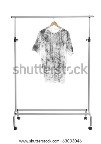 Dirty T-shirt on a Clothes Rack isolated - stock photo
