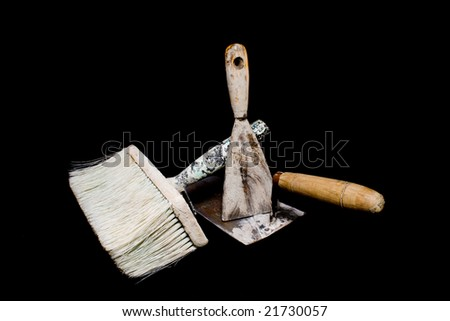 dirty tools of a house painter - stock photo