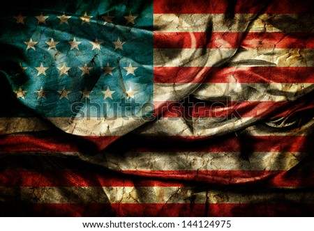 Dirty United states flag on silk background - stock photo