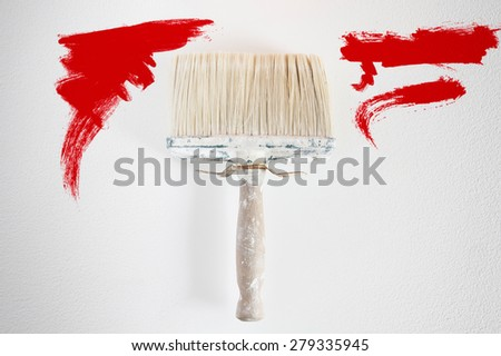 Dirty wall brush Painting with red paint - stock photo