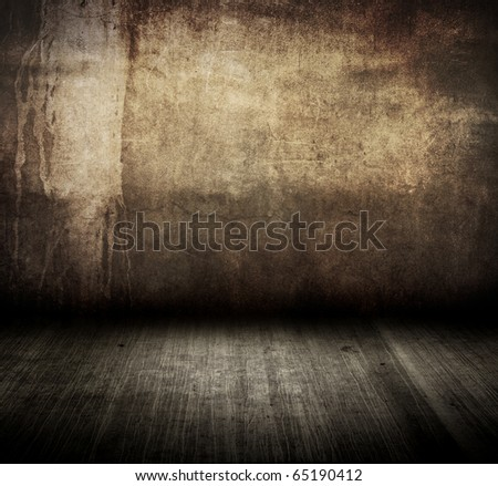 dirty wall with grunge floor in room style - stock photo
