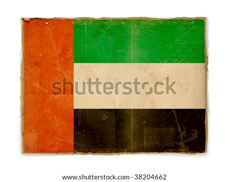dirty weathered flag of United Arab Emirates, paper textured