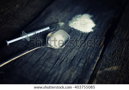 dirty wooden floor with drug syringe spoon cocain - stock photo