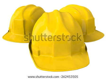 Dirty Yellow safety helmet or hard hat on white background - stock photo