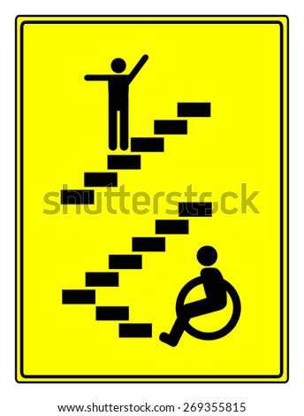 Disability Discrimination. Concept sign to vote for accessibility and barrier free environment for people with impairments - stock photo