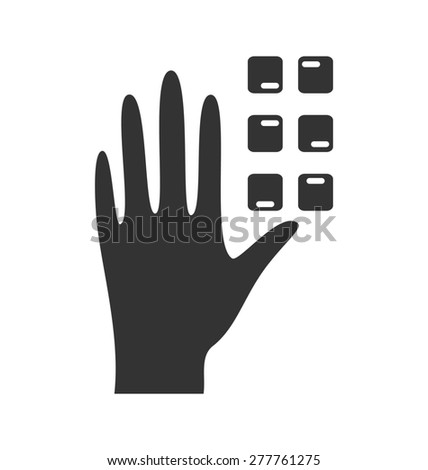 Disability pictogram braille flat icon hand isolated on white background - stock photo