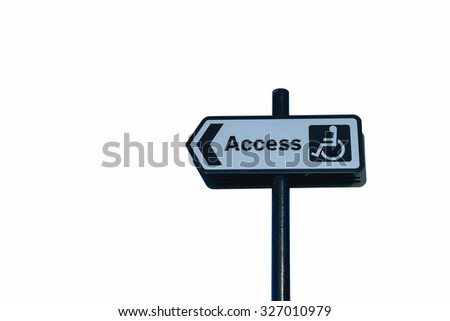 Disable access sign isolation on white background - stock photo