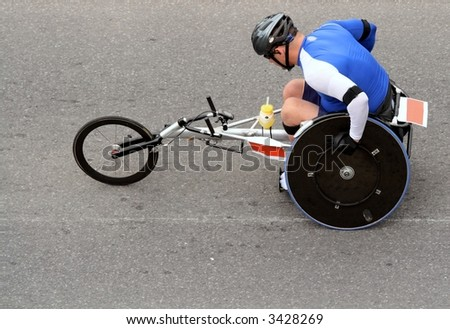 Disabled athlete in marathon. Ottawa, Ontario. Canada. - stock photo