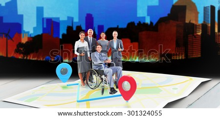 Disabled businessman with his colleagues smiling at camera against artistic cityscape design - stock photo