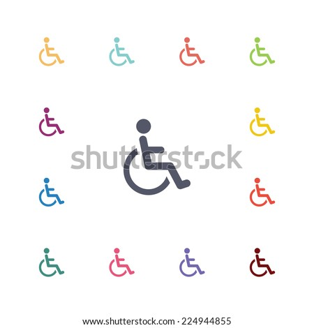 disabled flat icons set. Open round colorful buttons.  - stock photo