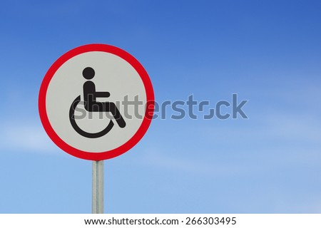 Disabled Handicap Icon road sign on sky background