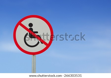Disabled Handicap Icon road sign on sky background - stock photo