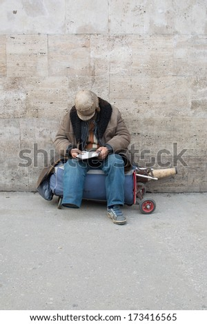 disabled homeless  - stock photo