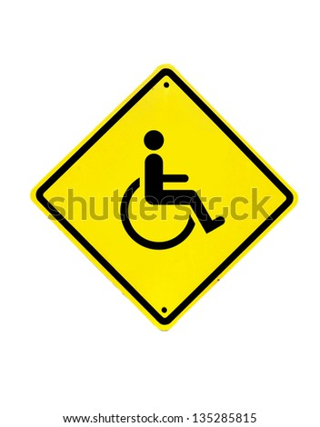 disabled icon sign on a white background - stock photo