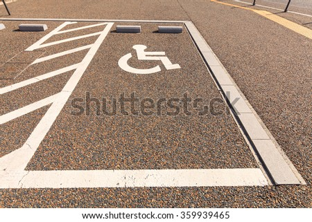 Disabled parking or Wheel chair parking lot area, Japan. - stock photo