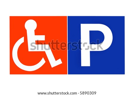 Disabled parking sign in orange and blue, over white.