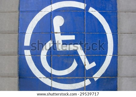 Disabled People Sign drawn on the ground of street - stock photo